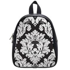 Diamond Bling Glitter on Damask Black Small School Backpack