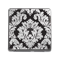 Diamond Bling Glitter On Damask Black Card Reader With Storage (square)