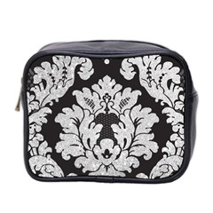 Diamond Bling Glitter On Damask Black Twin Sided Cosmetic Case