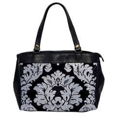 Diamond Bling Glitter on Damask Black Single-sided Oversized Handbag