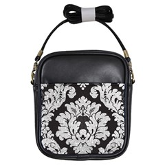 Diamond Bling Glitter On Damask Black Kids  Sling Bag