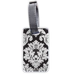 Diamond Bling Glitter on Damask Black Single-sided Luggage Tag