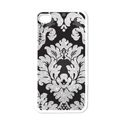 Diamond Bling Glitter on Damask Black White Apple iPhone 4 Case