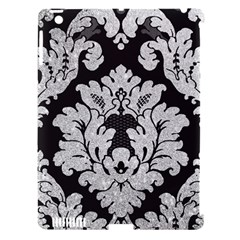 Diamond Bling Glitter on Damask Black Apple iPad 3/4 Hardshell Case (Compatible with Smart Cover)