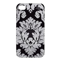 Diamond Bling Glitter on Damask Black Apple iPhone 4/4S Premium Hardshell Case