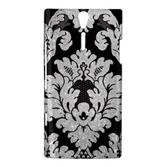 Diamond Bling Glitter on Damask Black Sony Ericsson Xperia S Hardshell Case