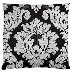 Diamond Bling Glitter on Damask Black Large Cushion Case (Two Sides)