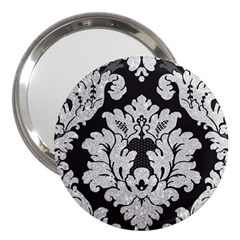 Diamond Bling Glitter On Damask Black 3  Handbag Mirror