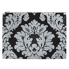 Diamond Bling Glitter On Damask Black Cosmetic Bag (xxl)