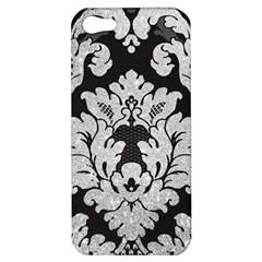 Diamond Bling Glitter On Damask Black Apple Iphone 5 Hardshell Case