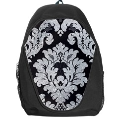 Diamond Bling Glitter on Damask Black Backpack Bag