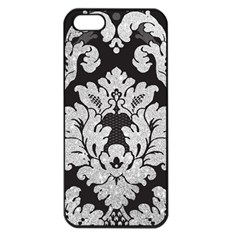 Diamond Bling Glitter On Damask Black Apple Iphone 5 Seamless Case (black)
