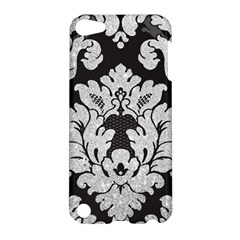 Diamond Bling Glitter on Damask Black Apple iPod Touch 5 Hardshell Case