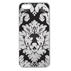 Diamond Bling Glitter on Damask Black Apple Seamless iPhone 5 Case (Clear)