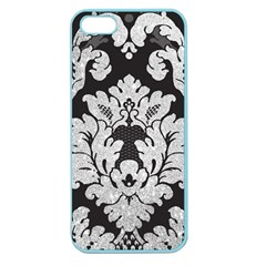 Diamond Bling Glitter on Damask Black Apple Seamless iPhone 5 Case (Color)