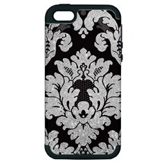 Diamond Bling Glitter on Damask Black Apple iPhone 5 Hardshell Case (PC+Silicone)