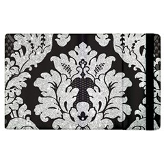 Diamond Bling Glitter on Damask Black Apple iPad 3/4 Flip Case