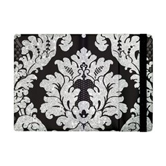 Diamond Bling Glitter on Damask Black Apple iPad Mini Flip Case