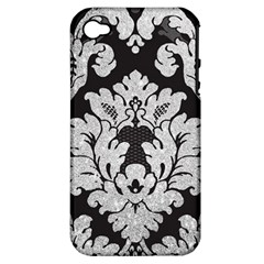 Diamond Bling Glitter on Damask Black Apple iPhone 4/4S Hardshell Case (PC+Silicone)
