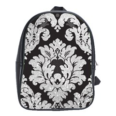 Diamond Bling Glitter on Damask Black School Bag (XL)