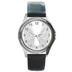 Angel Bling Wings Black Leather Watch (Round)