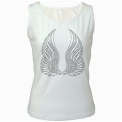 Angel Bling Wings White Womens  Tank Top