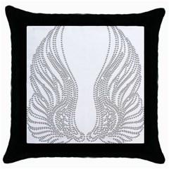 Angel Bling Wings Black Throw Pillow Case