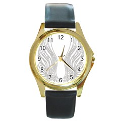 Angel Bling Wings Black Leather Gold Rim Watch (round)