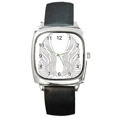 Angel Bling Wings Black Leather Watch (Square)