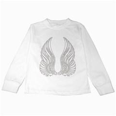 Angel Bling Wings White Long Sleeve Kids'' T-shirt