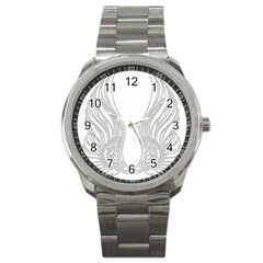 Angel Bling Wings Stainless Steel Sports Watch (Round)