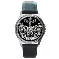 Bling Wings And Cross Black Leather Watch (round)