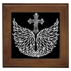 Bling Wings and Cross Framed Ceramic Tile