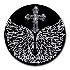 Bling Wings And Cross 8  Mouse Pad (round)