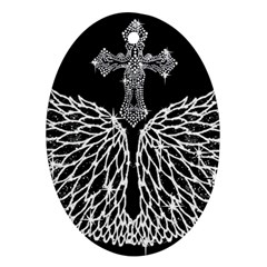 Bling Wings and Cross Ceramic Ornament (Oval)
