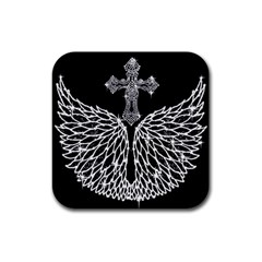 Bling Wings and Cross Rubber Drinks Coaster (Square)