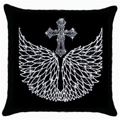 Bling Wings and Cross Black Throw Pillow Case