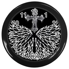 Bling Wings and Cross Black Wall Clock