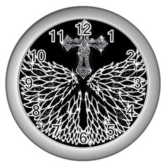 Bling Wings And Cross Silver Wall Clock