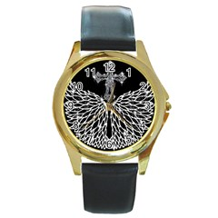 Bling Wings And Cross Black Leather Gold Rim Watch (round)