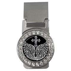 Bling Wings And Cross Money Clip With Gemstones (round)