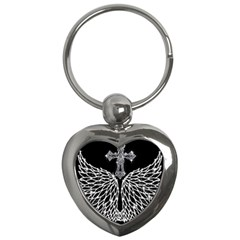 Bling Wings and Cross Key Chain (Heart)