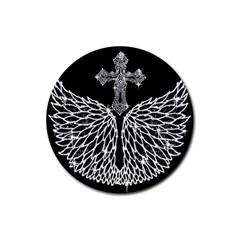 Bling Wings And Cross Rubber Drinks Coaster (round)