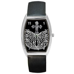 Bling Wings And Cross Black Leather Watch (tonneau)
