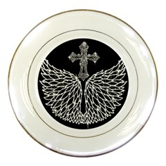Bling Wings And Cross Porcelain Display Plate