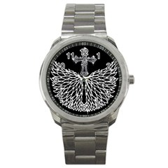 Bling Wings and Cross Stainless Steel Sports Watch (Round)
