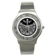 Bling Wings and Cross Stainless Steel Watch (Round)