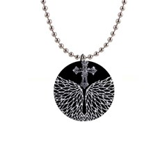 Bling Wings And Cross Mini Button Necklace