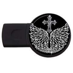 Bling Wings And Cross 4gb Usb Flash Drive (round)
