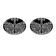 Bling Wings and Cross Oval Cuff Links